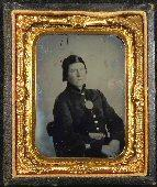 Nice Clear 9th Plate Ambrotype of Young US Infantryman with Breast Plate, Cap Box, and US Buckle