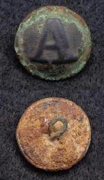 Fine Confederate CS117 Block -A- Artillery Coat Button