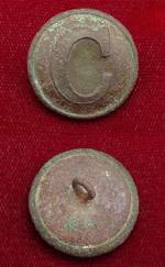 Fine Excavated CS127 Lined -C- Confederate Cavalry Coat Button