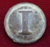 Very Nice Dug Confederate Block -I- Infantry Button w/Stars & Original Tinback & Shank