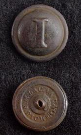 Nice Slick Brown CS181 Confederate Block -I- Infantry Coat Button