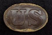 SuperFine Excavated US Waist Belt Plate - w/Smooth Chocolate Patina