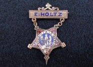 Nicely Enameled G.A.R. Pin/Badge Identified To  Edwin D. Holtz, Co. A, 1st Maryland Infantry, US