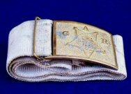 Fine G.A.R. - Grand Army of the Republic White Cotton Belt & Gilted Buckle