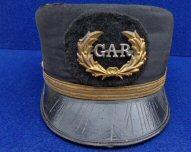 "Nice ca. 1880-1920 G.A.R. or Grand Army of the Republic ""Pillbox"" Style Cap w/GAR Side Buttons, Padded GAR Badge, and Gold Lined Strap - Maker Marked"
