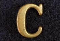 Fine Non Dug Stamped Brass Company Hat Letter -C- One Inch
