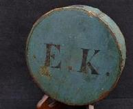"Beautiful War of 1812, Robin's Egg Blue CheeseBox Canteen with Stenciled Letters - "" E.K. """