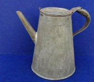 "Nice Patina on This Old Civil War Period Rolled Iron "" Tin "" Coffee Pot w/Soldered Construction"