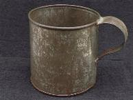 Nice Large Civil War Period Tin Cup - Teardrop Handle & Some Tin Plating Left