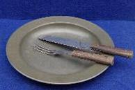 Nice Civil War Period Tin Plate w/Fork & Knife - Nine Inches Diameter