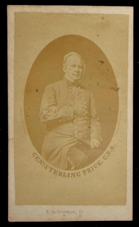 Actual Photo Cdv Image of Confederate Major-General Sterling Price of Missouri - In Confederate Uniform - Not the Missouri State Guard he is usually pictured in .