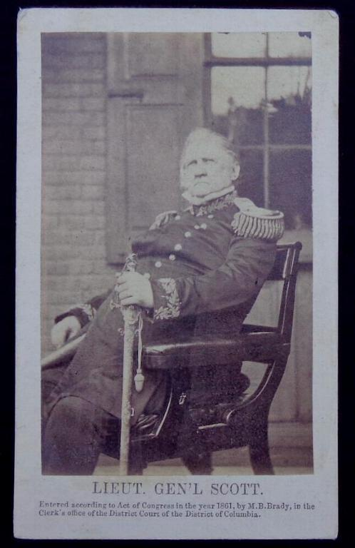 U.S. Lieutenant General Winfield Scott Cdv From a Brady Negative