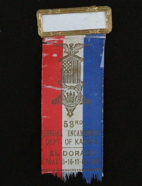 Nice Group of Four Consecutive Year Kansas G.A.R. Ribbons/Badges - 1932 - 1935 -  El Dorado, Kansas, 1933