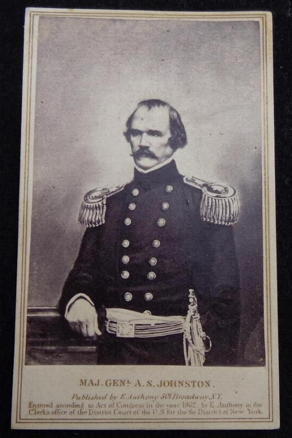 Fine Cdv of Confederate General Albert Sidney Johnston - Killed at Shiloh, Tennessee, April 6th, 1862