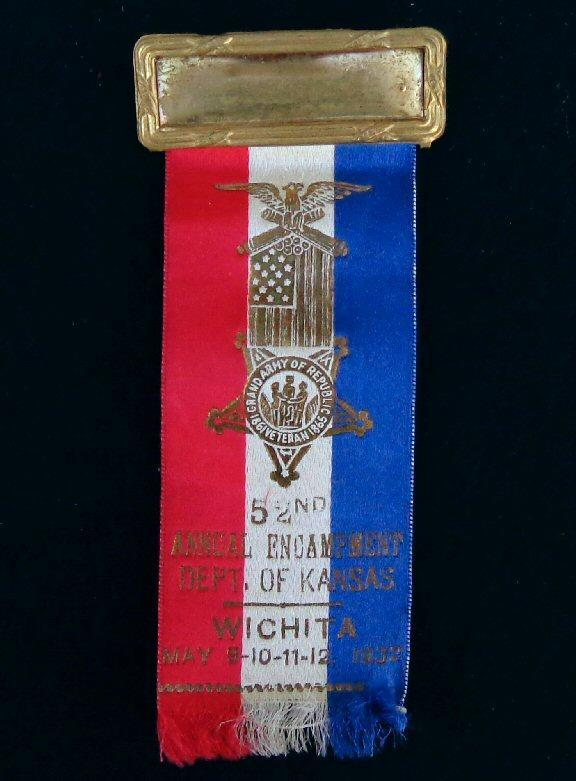 Nice Group of Four Consecutive Year Kansas G.A.R. Ribbons/Badges - 1932 - 1935 - Wichita, Kansas, 1932