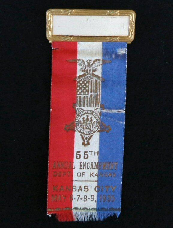 Nice Group of Four Consecutive Year Kansas G.A.R. Ribbons/Badges - 1932 - 1935 - Kansas City, Kansas, 1935