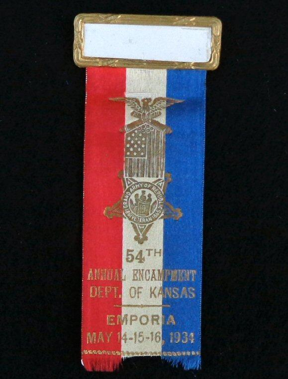 Nice Group of Four Consecutive Year Kansas G.A.R. Ribbons/Badges - 1932 - 1935 - Emporia, Kansas, 1934