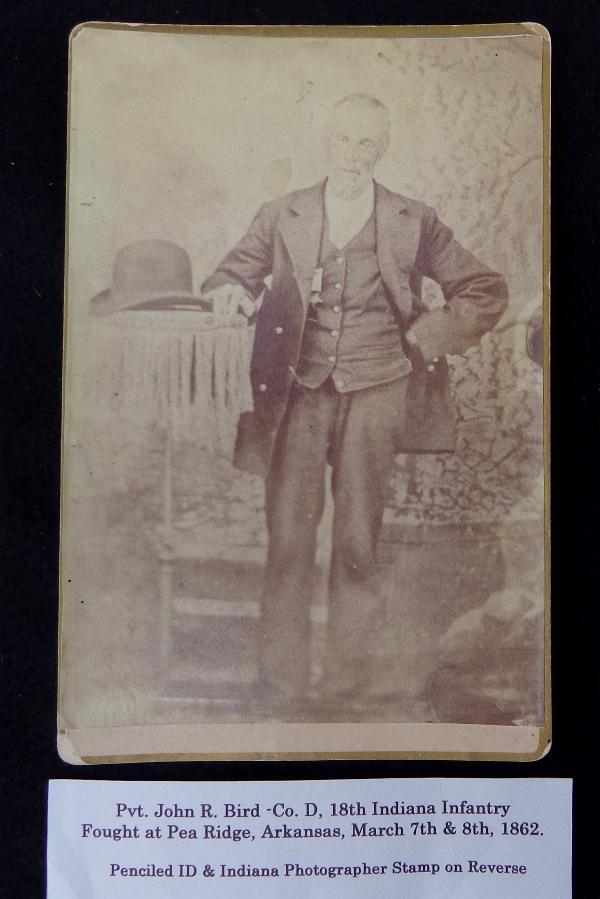 Nice Cabinet Card View of John R. Bird, Co. D, 18th Indiana Infantry & Post War G.A.R. Member - The Regiment fought at Pea Ridge, before moving to the Western Theater.