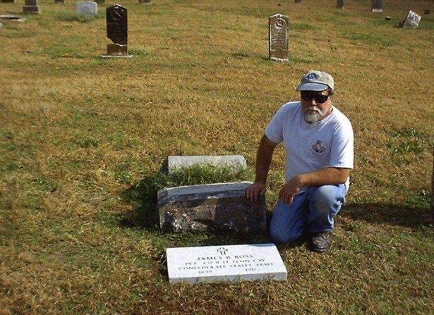 Digging Buddy, Jack Ferguson who helped me and Leon Moore set Private Ross's VA Stone. Note Pvt. Ross's broken civilian stone Jack has his hand on.