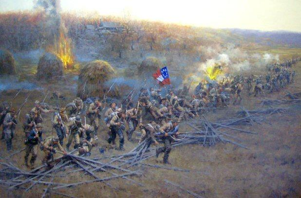 """They Came LIke Demons"", an excellent Trans-Mississippi Painting by Andy Thomas, of Carthage, Missouri, illustrates the Western End of the Prairie Grove, Arkansas, Battlefield. Available in a Print, this image depicts what many think happened here, based on the Official Record, Diaries, Memoirs, and Letters."