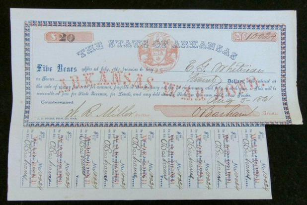 Excellent Condition 1861 Dated Arkansas War Bond - Issued to the Commissary Sergeant of the 4th Arkansas Cavalry, C.S.A.