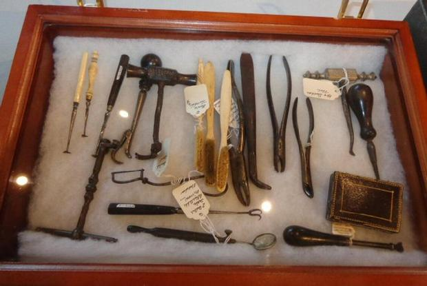 One of Ann's Displays of Dental & Other Tools. - Ouch !