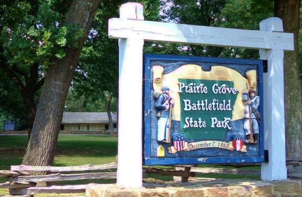 Large Sign at the Entrance to the Prairie Grove Battlefield State Park - The Battle of Prairie Grove, Arkansas, occurred on December 7th, 1862.