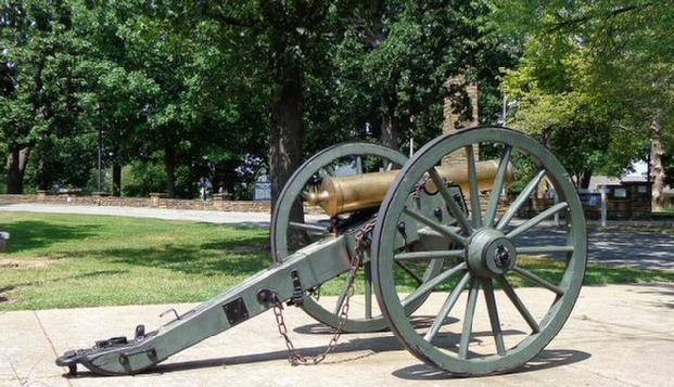 Artillery Piece on Display in Front of the Prairie Grove Battlefield State Park Museum.