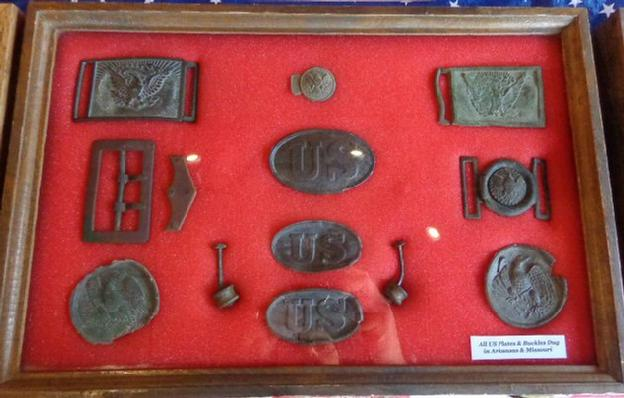 One of my Displays of Dug Union Plates & Buckles Recovered in Arkansas & Missouri.