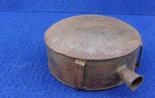 Fine ca. 1850s Tin Drum Militia Canteen - One Side Flat One Convex