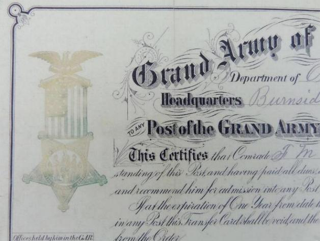 1888 Dated G.A.R. or Grand Army of the Republic Transfer Certificate for a member of Co. B, 36th Wisconsin Infantry - Francis M. Poe