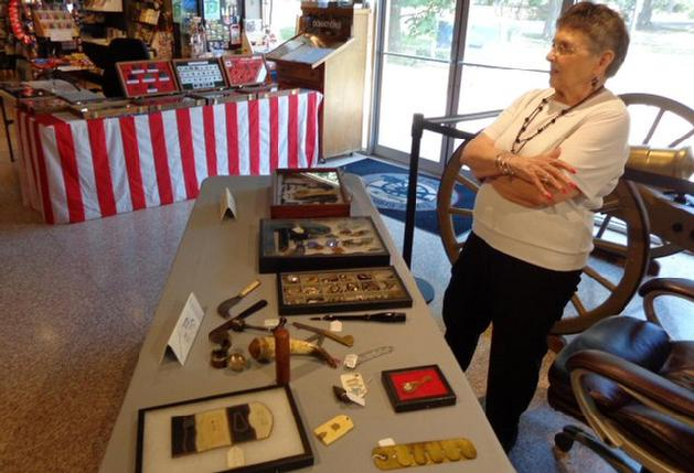 Ann Webb with her table of Civil War Period Jewelry, Dental Tools, and other Civilian effects. She also has a great collection of period cooking utensils, and Cdvs, not on display on this occassion.
