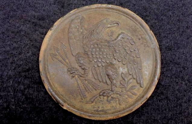 W.H. Smith Maker Marked US Eagle Breast Plate with Both Loops - Recovered Brandy Station, Virginia.
