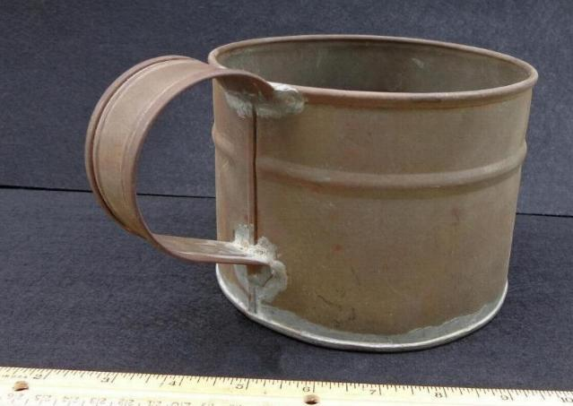 GIANT Civil War Period Tin Boiler Shaped Like a Cup - Six Inches Diameter by 4.5 Inches Tall.