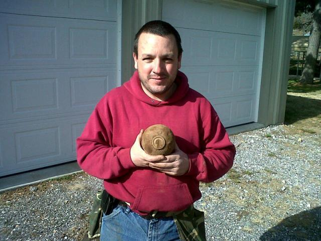 Matt Longwith with his newly recovered 12-Pndr. Borman Fused Artillery Shell !
