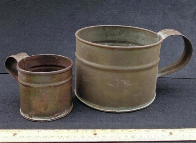 GIANT Civil War Period Tin Boiler Shaped Like a Cup - Six Inches Diameter by 4.5 Inches Tall -Small Tin Cup on the left is NOT Included, but Sold Seperately.