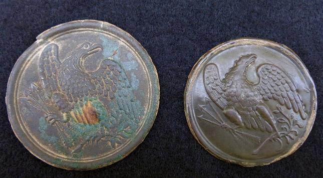 "Very Nice Displaying ""Burnside"" Pattern Eagle Breast Plate with Smooth Chocolate Patina - [The Plate on the Right Only]"