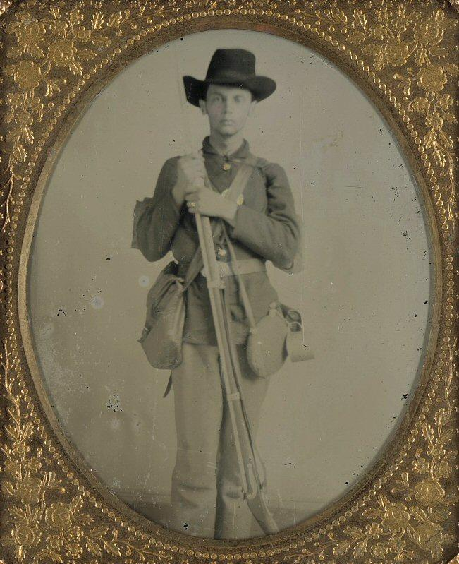 Unidentified Yankee with rifle, rig, and tin cup.