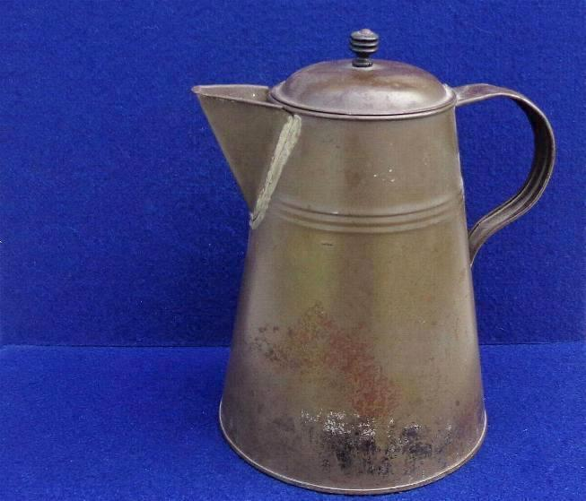 Fine Civil War Period Rolled Iron or Tin Coffee Pot with Nice Smooth Brown Patina