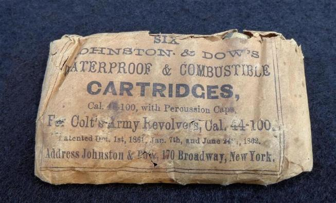 Original Packet of Johnson & Dow Waterproof Cartridges for M1860 .44 Caliber Colt Army Revolver