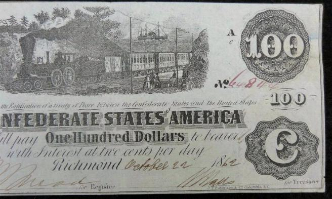 Very Fine Confederate T-40 1862 $100 Dollar Note - Hand Signed