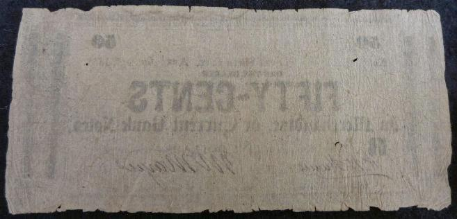 "Very Uncommon 1862 Dated, ""Fort Smith City, Arkansas,"" Fifty Cent Merchant Note - Also Redeemable in Fayetteville, Arkansas; Van Buren, Arkansas; Fort Gibson, Indian Territory; Sherman, Texas; Denton, Texas; and of course, Fort Smith, Arkansas."