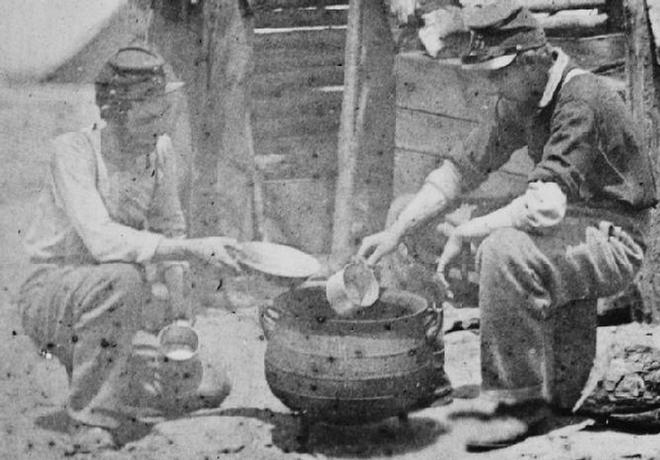 Troops of the 71st New York Dipping Soup with a Cup that appears very similar in size.
