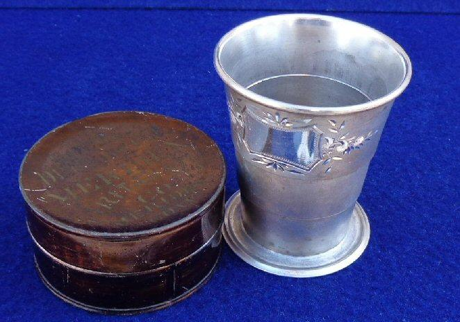 "Beautiful Period Britania Telescoping/Folding Cup w/""Meridan"" Maker's Marks on Nicely Japanned Tin Container"