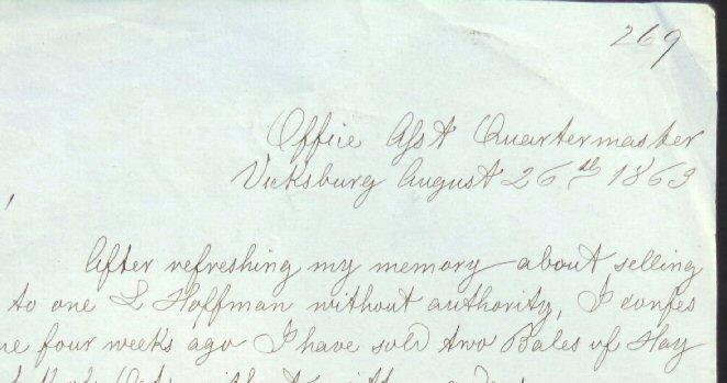 Quartermaster's Letter written and dated at Vicksburg, Mississippi, barely a month after the surrender.