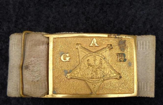 Grand Army of The Republic or G.A.R. White Cotton Waist Belt & Gilt Buckle