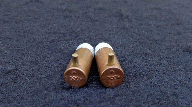 Nice Pair of Post War 7mm Pinfire Cartridges But Nearly Identical to Those that would have been used in the Folding Trigger Pinfire Revolvers During the War