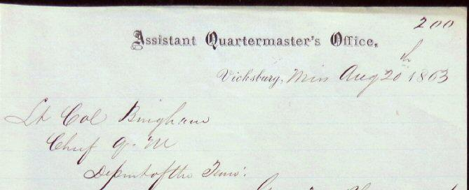 Fine U.S. Quartermaster's Letter written from Vicksburg, Mississippi, on Official Stationary