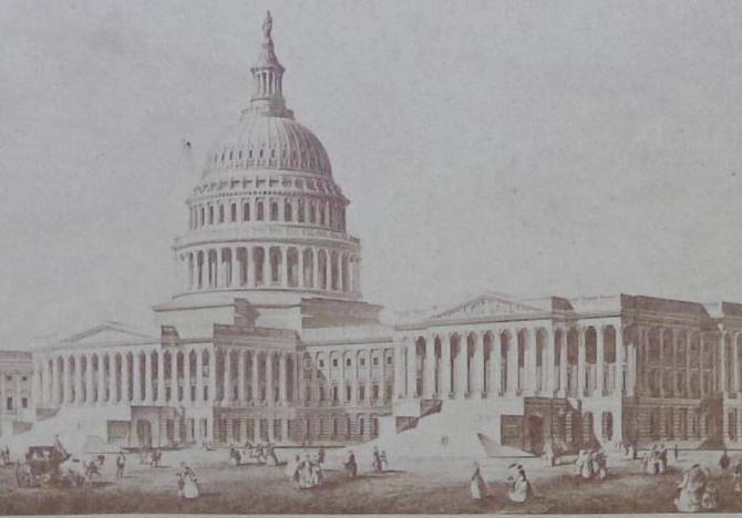 Fine Cdv Engraving of US Capitol by Brady