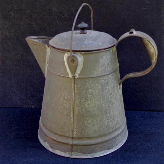 "Fine Large ""Mess Size"" Civil War Period Tin Coffee Pot with Bale for Hanging Over a Campfire"